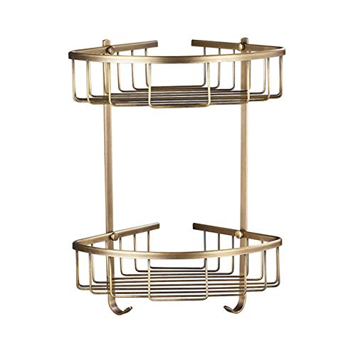 Polished Brass Shower Caddy - Rozin Dual-Tier Bathroom Kitchen Corner Shelf Shower Caddy Holder Antique Brass