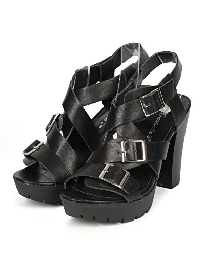 Breckelles Heel Leatherette Black Ankle Leatherette Strap Buckle Women Cross Chunky CF79 Lug Sole 67wr6
