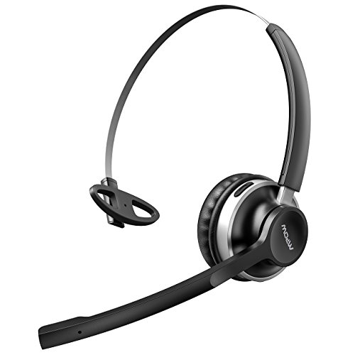 Mpow HC3 Bluetooth Headphones, Dual-Mic Noise Reduction, 13Hr Playtime Trucker Bluetooth Headset w/Wired Mode, Cell Phone Headset, Car Bluetooth Headphone with Microphone for Driver/Skype/Call Center