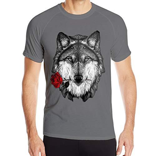 VANMASS Mens Wolf Rose Moisture Wicking Short Sleeve Athletic Shirts (Shirt Pau Gasol)
