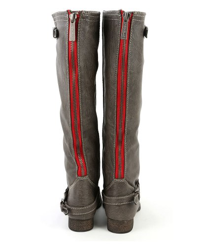 Breckelles Womens Outlaw-81 Genou Haute Botte Taupe-81
