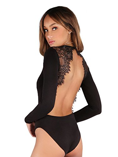 DIDK Women's Long Sleeve Backless Lace Applique Bodysuit Black (Lace Womens Bodysuit)