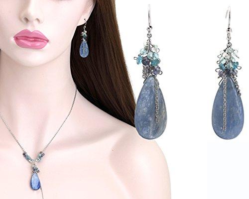 Blue kyanite pendant jewelry set,Gemstone cluster necklace,Kyanite drop cluster earrings,Rhodium Plated 925 sterling silver jewelry set (Iolite Ring Tanzanite)