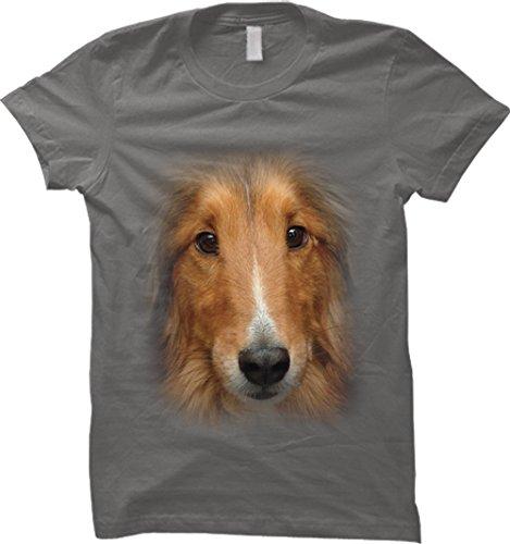 Big Sheltie 3D Face WOMENS T-shirt (Large, CHARCOAL)