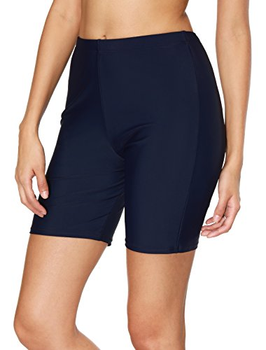BeautyIn Women's Stretch Board Shorts Solid Beach Shorts Sport Swimsuits Bottom,Navy,10/Tag L