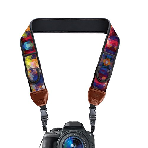 TrueSHOT Camera Strap with Geometric Neoprene Pattern and Accessory Storage Pockets by USA Gear - Works With Canon , Fujifilm , Nikon , Sony and More DSLR , Mirrorless , Instant Cameras