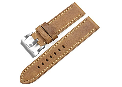 iStrap 20mm 22mm Watch Band Handmade Leather Straps Steel Tang Buckle Style Band For Panerai-Brown(Two Size Can Choose)