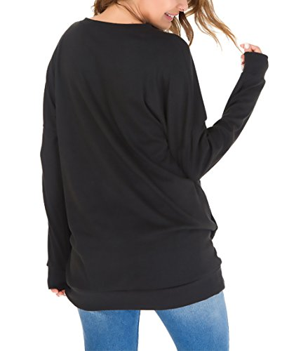A Lunghe Prodotto Giovane Magliette Plus Donna Maniche Primaverile Tops Con Shirts Ragazze Tasche Autunno Camicetta Rotondo Nero Libero Moda Camicia Bluse Monocromo Tempo Collo Sciolto Eleganti Pvw05qv