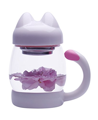 MeGlass Cute Cat Tea Mugs, 14oz Protable Glass Tea Cup with a Lid & Infuser for Home & Office Use (White) by MeGlass