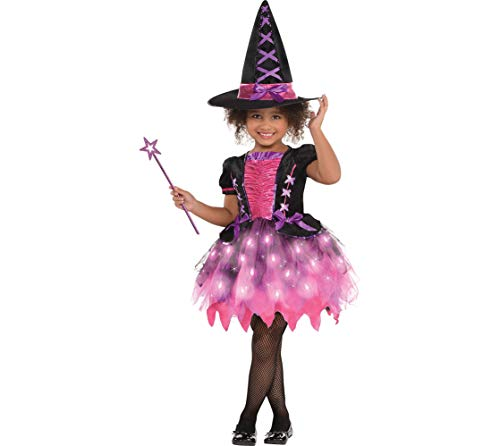 AMSCAN Light-up Sparkle Witch Halloween Costume for Toddler Girls, 3-4T, with Included Accessories