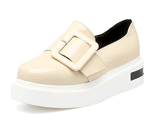 Aisun Damen Lack Metall Flach Schuhe Sneaker Schwarz 37 EU Job95E4ihr