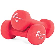 ProSource Set of 2 Neoprene Dumbbell Coated for Non-Slip Grip, 1 lb-12 lb