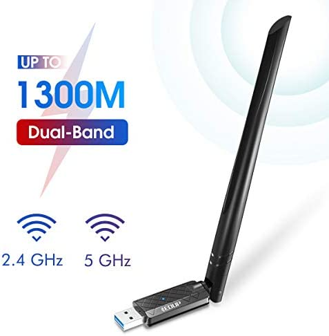 EDUP USB 3.0 WiFi Adapter 1300Mbps Dual Band Wireless Network Adapter 802.11 AC 6dBi Antenna for Desktop PC Wi-Fi Dongle Compatible Windows 10/7 /8/8.1 /XP Mac OS X 10.6-10.15