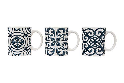 - Creative Co-op White & Blue Stoneware Crackle Finish (Set of 3 Designs) Mug, Blue