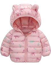 KONF Toddler Thicken Warm Coat Tops,Girls Boys Winter Cartoon Dinosaur Windproof Coat Hooded Warm Outerwear Jacket