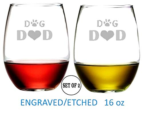 Dog Dad Stemless Wine Glasses   Etched Engraved   Perfect Fun Handmade Present for Everyone   Dishwasher safe   Set of 2   4.25
