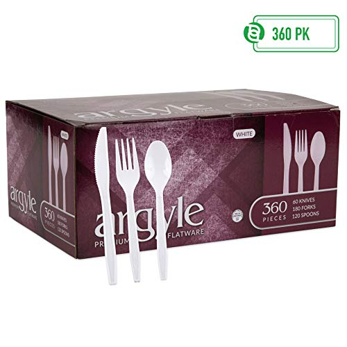 White Plastic Silverware | Heavy Duty & Solid Cutlery Disposable Utensils Set | Perfect for Weddings, Buffets, Luncheon & More | 180 Forks, 120 Spoons & 60 Knives Combo Pack | 360 Count