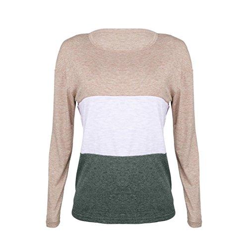 Women Splice Mode Langarm Bluse Damen Imjono Tshirt Tops Kleidung qwvEI