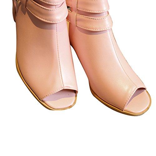 Peep Toe Tacco Alto Stivaletti Donna Estate Caviglia Dal Caro Tempo Rosa