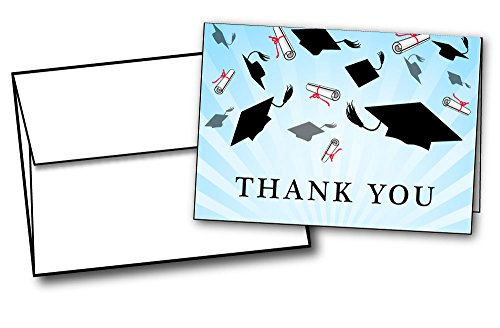 Graduation Caps Thank You Cards - 24 Cards & Envelopes