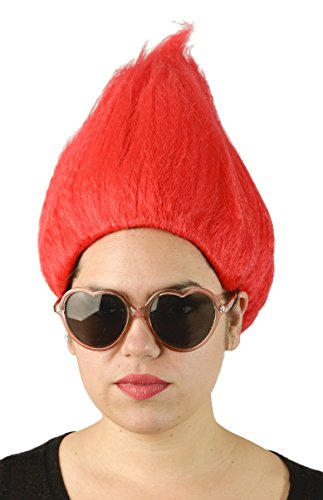 Red Troll Wig Costume Hair for Adults and Kids