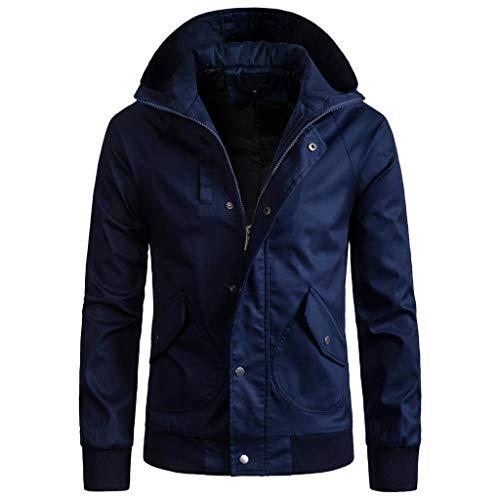 (MISYAA Jackets for Men, Long Sleeve Solid Zipper Hoodie Hooded Cardigan Sport Coat Activewear Friends Gifts Mens Tops Navy)