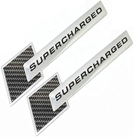2x CARBON Supercharged Metal Emblem Badge Chrome AUDI Car Sticker A3 A4 S3 A5 A6