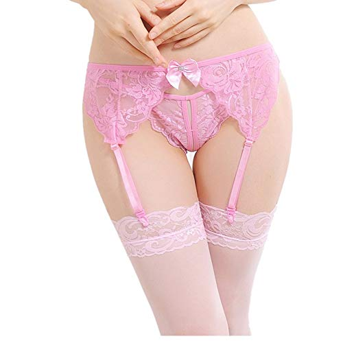 Mismxc Women s 3 Pieces Lace Garter Belt and Stockings Sets with G-String  Panty 7b3a74667