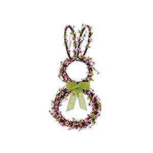 RAZ Imports 25 Inch Grapevine Twig Flower Easter Bunny Door Wreath 38