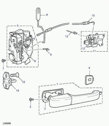 Serratura di porta posteriore sinistra per Land Rover/ /fqm100710