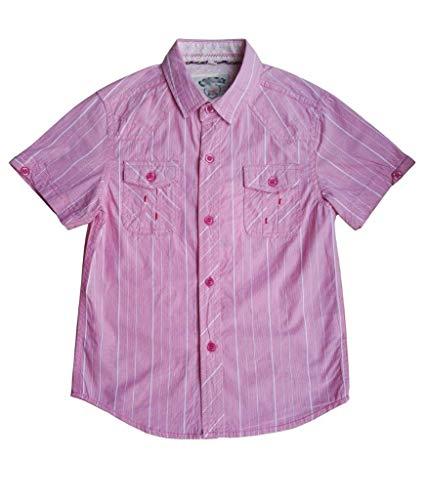 Shirt Stripe Woven Vertical (Boys Button Down Vertical Stripe Casual Uniform Woven Cotton Slim Fit Red Short Sleeve Shirt Size 16)
