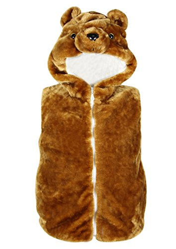 Bioterti Kids' Animal Hooded Vest for Dress Up/with Pockets/Manufacture/ 16 Amazing Styles (Small, Brown Bear) -
