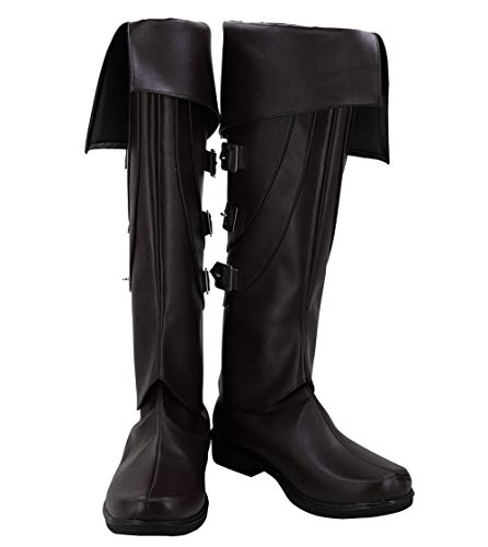 Allten Mens Assassin Black Shoe Boots Booties Cosplay Costume (11 M US Male) -