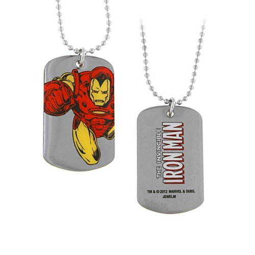 Jewel M Iron Man Flying Dog Tag Necklace ()