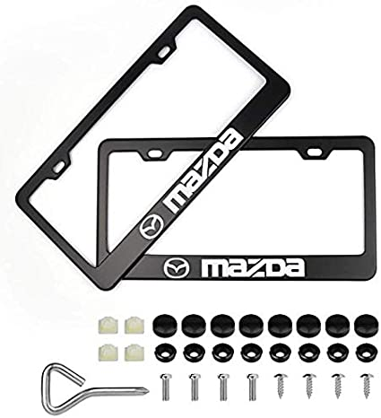 2X CX-9 Mazda Stainless Steel METAL License Plate Frame Rust Free W// Caps