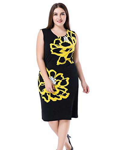 Chicwe Mujeres Tallas Grandes Vestido Forrado Estampado Floral Sin Manga - Vestido Casual en Oficina con Longitud a la Rodilla Amarillo/Negro