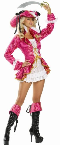 Hot Pink Pirate Captain Costume - Small/Medium - Dress Size 2-6