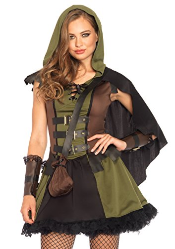 Robin Hood Ladies Fancy Dress (Leg Avenue Women's Darling Robin Hood Costume, Olive/Brown, Medium)