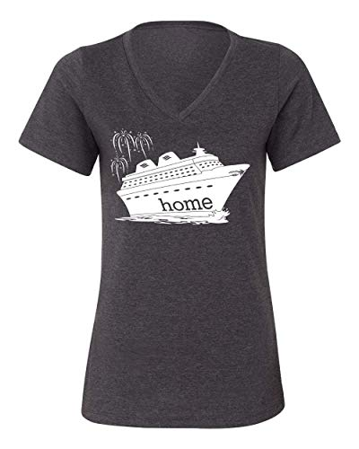 DisGear Women's Cruise is My Home Vacation T-Shirt, Dark Heather Grey, Large