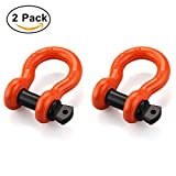 """Image of Shackles 3/4"""" (2 PACK) RETECK D ring Shackle Rugged 4.75 Ton (9,500 Lbs) Capacity with 7/8'' Pin Bow Screw Heavy Duty D Ring for Jeep Vehicle Recovery, Orange"""