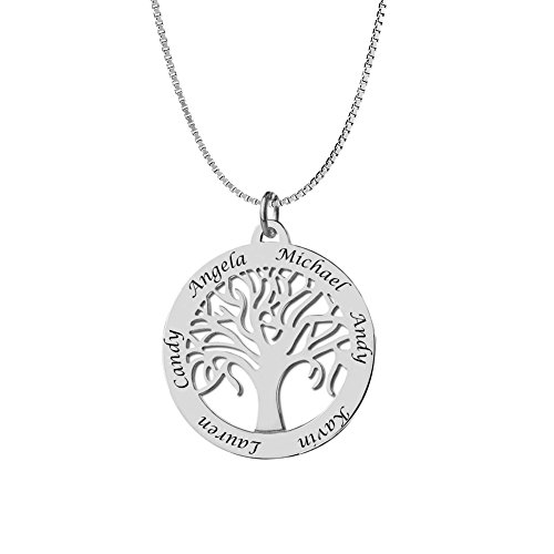 Ouslier 925 Sterling Silver Personalized Life Tree Family Name Necklace Custom Made with Any Names (Silver)