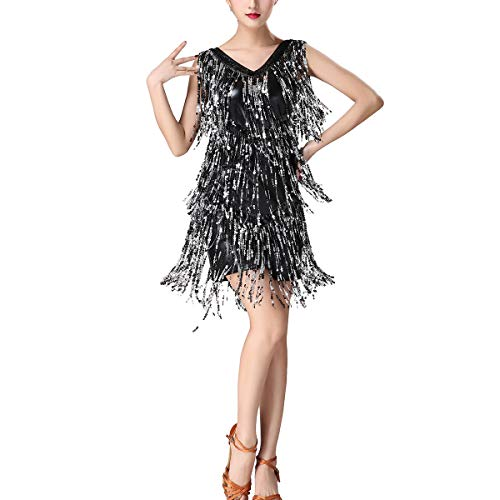 Sequin Cha-cha Rumba Swing 20's Dance Theme Party Performance Team Dress Costume Black/Silver -