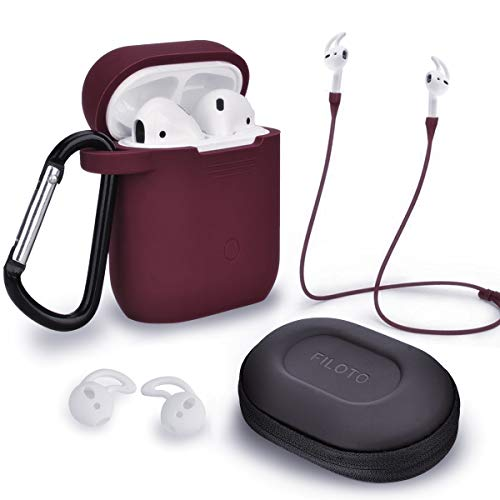 FILOTO Airpods Case Cover for Apple Airpods 2 & 1 Wireless Charging Case, with Airpods Accessories Keychain/Skin/Strap/Earhooks/Storag Case, Cute Airpods Apple gen 1st 2nd Silicone Case,Burgundy