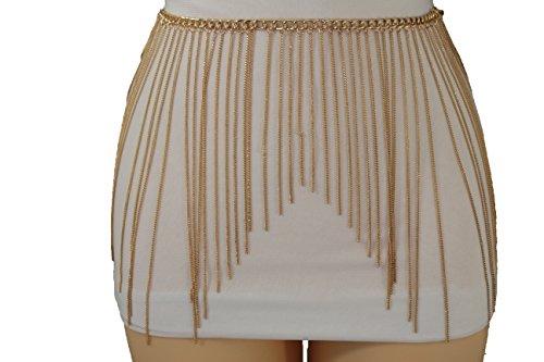 TFJ Women Fashion Belt Hip Waist Extra Long Fringes Metal Chain Plus M L XL Gold - Fringe Chain