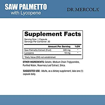 Dr. Mercola Saw Palmetto with Lycopene – 30 Licaps – Superior Prostate Support – With Saw Palmetto Extract Grown in the USA – Capsule-in-Capsule Technology – Premium Prostate Health Supplements for Men
