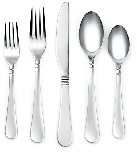 Corelle Coordinates Sarah Satin 20-Piece Flatware Silverware Set, Stainless Steel, Service for 4, Includes Forks/Spoons/Knives