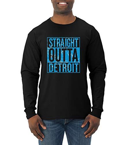 Wild Bobby Straight Outta Detroit DET Fan | Fantasy Football | Mens Sports Long Sleeve T-Shirt, Black, X-Large