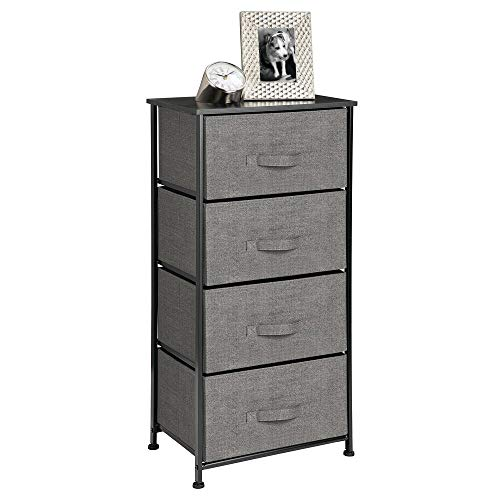 mDesign Vertical Dresser Storage Tower - Sturdy Steel Frame, Wood Top, Easy Pull Fabric Bins - Organizer Unit for Bedroom, Hallway, Entryway, Closets - Textured Print - 4 Drawers - Charcoal Gray/Black (Kids Drawer)
