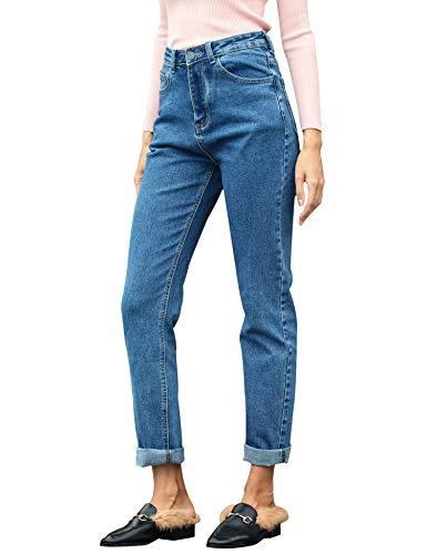 (Women's Boyfriend Jeans 1980s High Waist Loose Fit Classic Straight Denim Pants Dark Blue 28