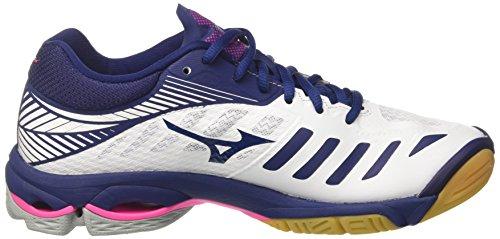 Mizuno Wave Lightning Z4 Wos, Scarpe da Pallavolo Donna Multicolore (White/Bluedepths/Pinkglo)